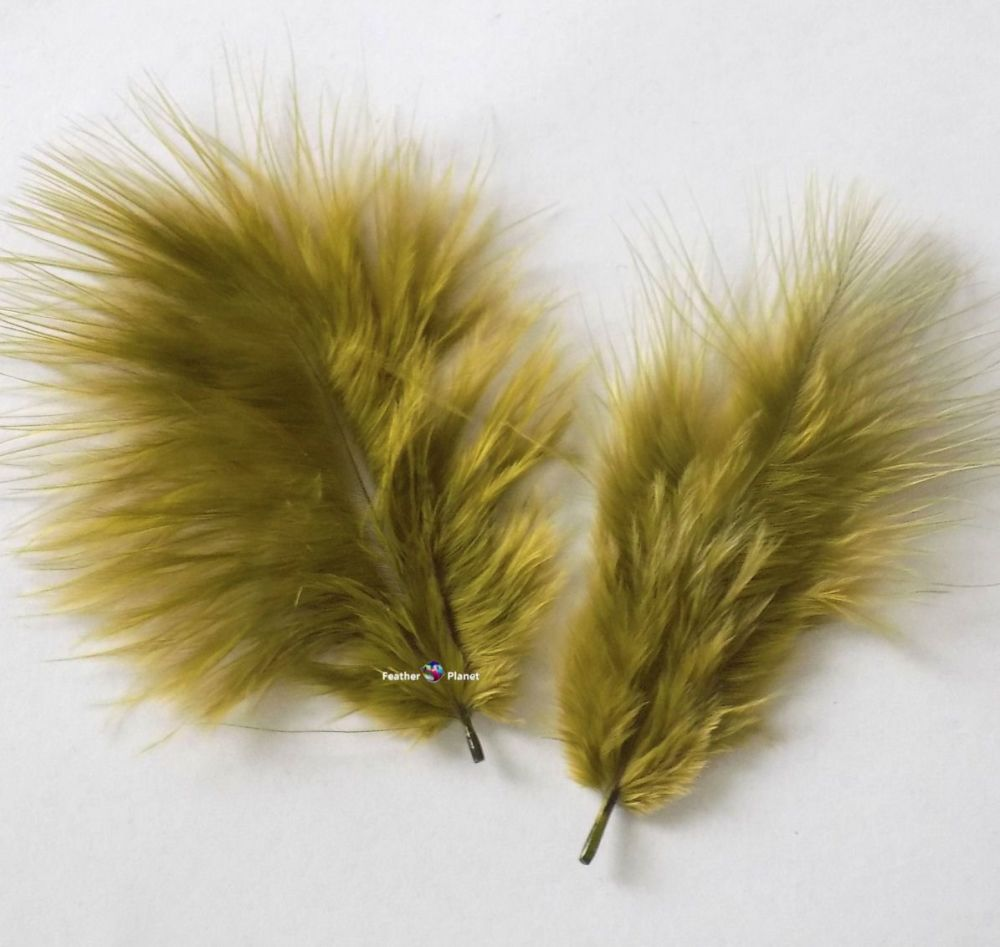 Olive MossGreen Marabou Feathers - Small