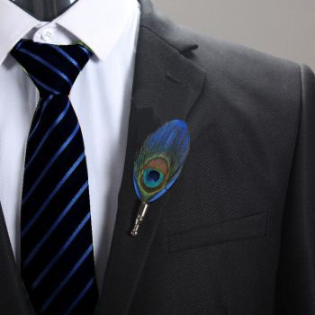 Feather Boutonnière Buttonhole - blue and peacock feather