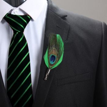 Feather Boutonnière Buttonhole - green and peacock feather