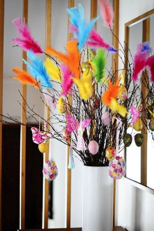 Easter feather tree idea