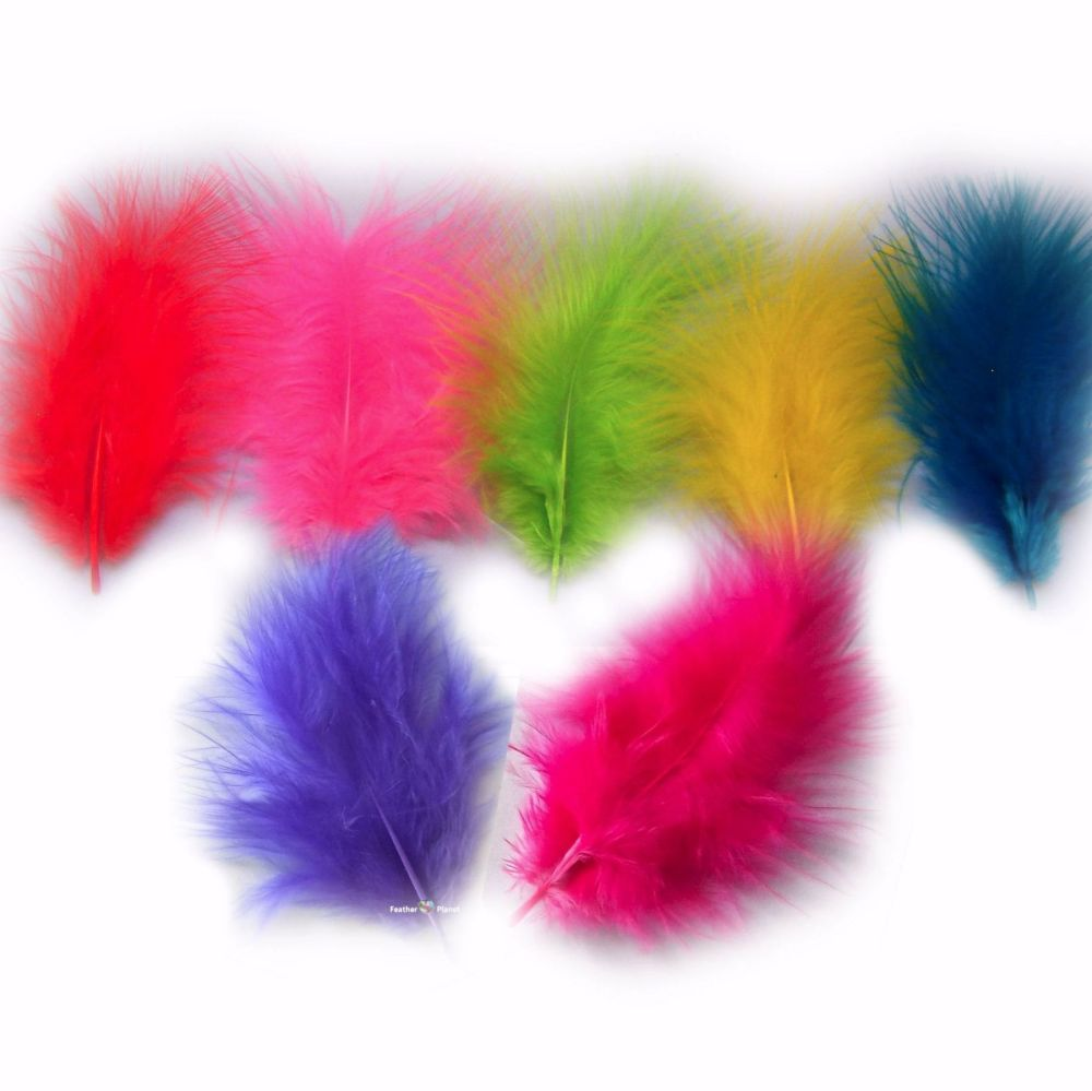 Assorted Neon Marabou Feathers - Small