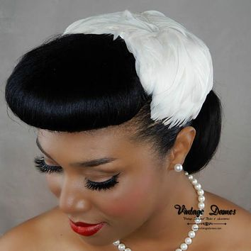 White goose feathers used to make a hat