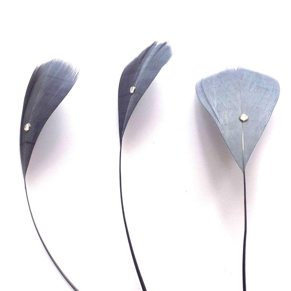 Dark Silver Stripped Coque Feathers With Rhinestone Gems