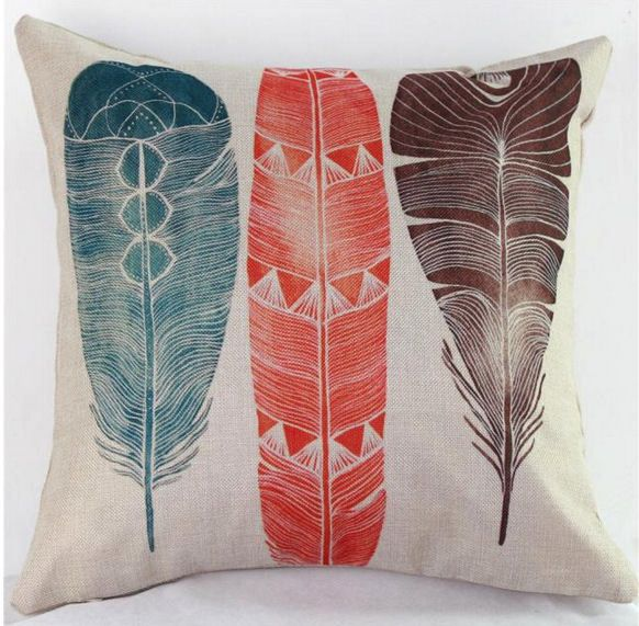Cushion Cover with Rustic Feather Design (GC02)
