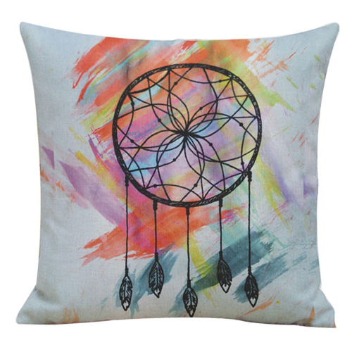 Dream Catcher Cushion Cover with Feather Design
