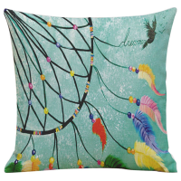Dream Catcher Cushion Cover with Feather Design (Blue)