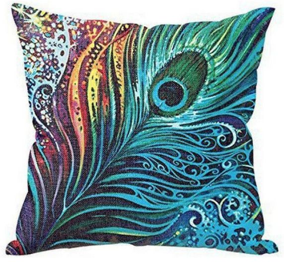 Cushion Cover with Peacock Feather Design (GC03)