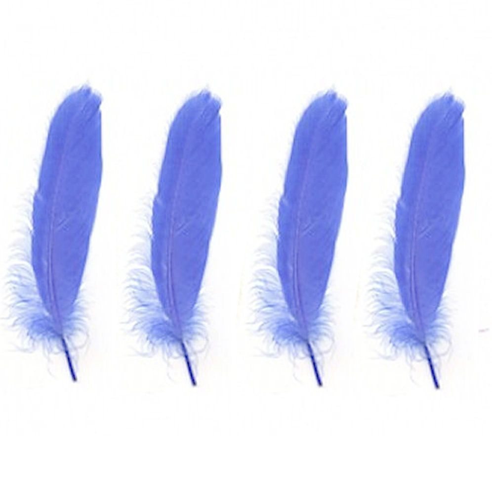 Goose Satinette Feathers in Cornflower Blue x 10
