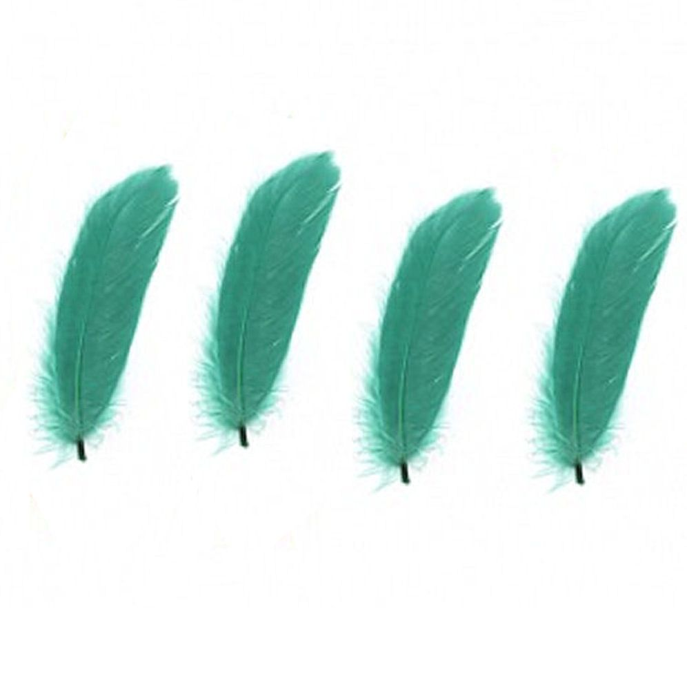 Goose Satinette Feathers in Emerald Green x 10