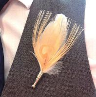 Feather Boutonnière Buttonhole - Peach Peacock and Ivory