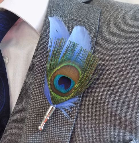 Feather Boutonnière Buttonhole - Peacock and Cornflower Blue Feather