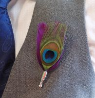 Feather Boutonnière Buttonhole - Peacock and Plum Purple Feathers