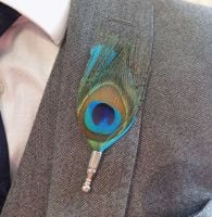 Feather Boutonnière Buttonhole - Peacock and Turquoise Feather
