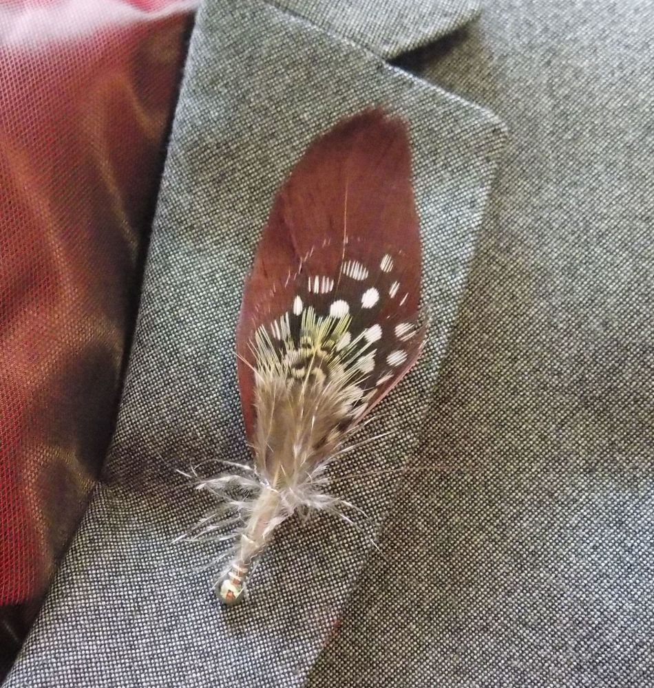Feather Boutonnière Buttonhole - Guinea Feather