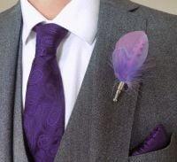Feather Boutonnière Buttonhole - Lilac