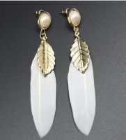 Gold and White Feather Earrings