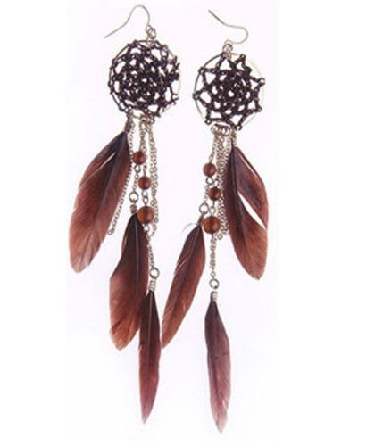 Dream Catcher Earrings in Brown and Gold