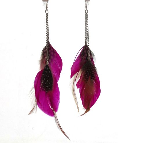 Shocking Pink Goose Double Feather long earrings