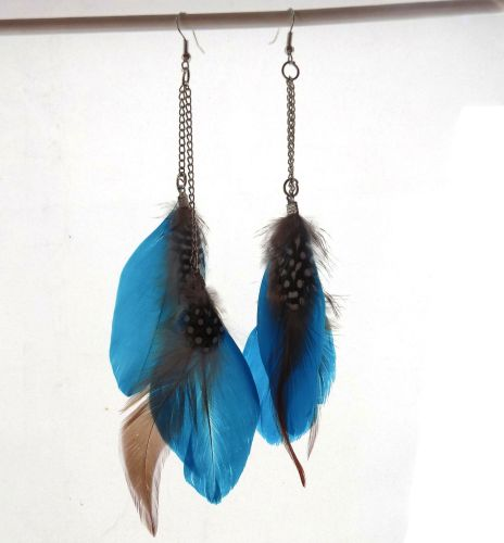 Deep Turquoise Goose Double Feather long earrings