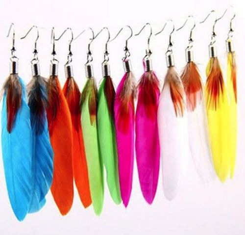 Feather Earrings - Colourful fun goose feather earrings