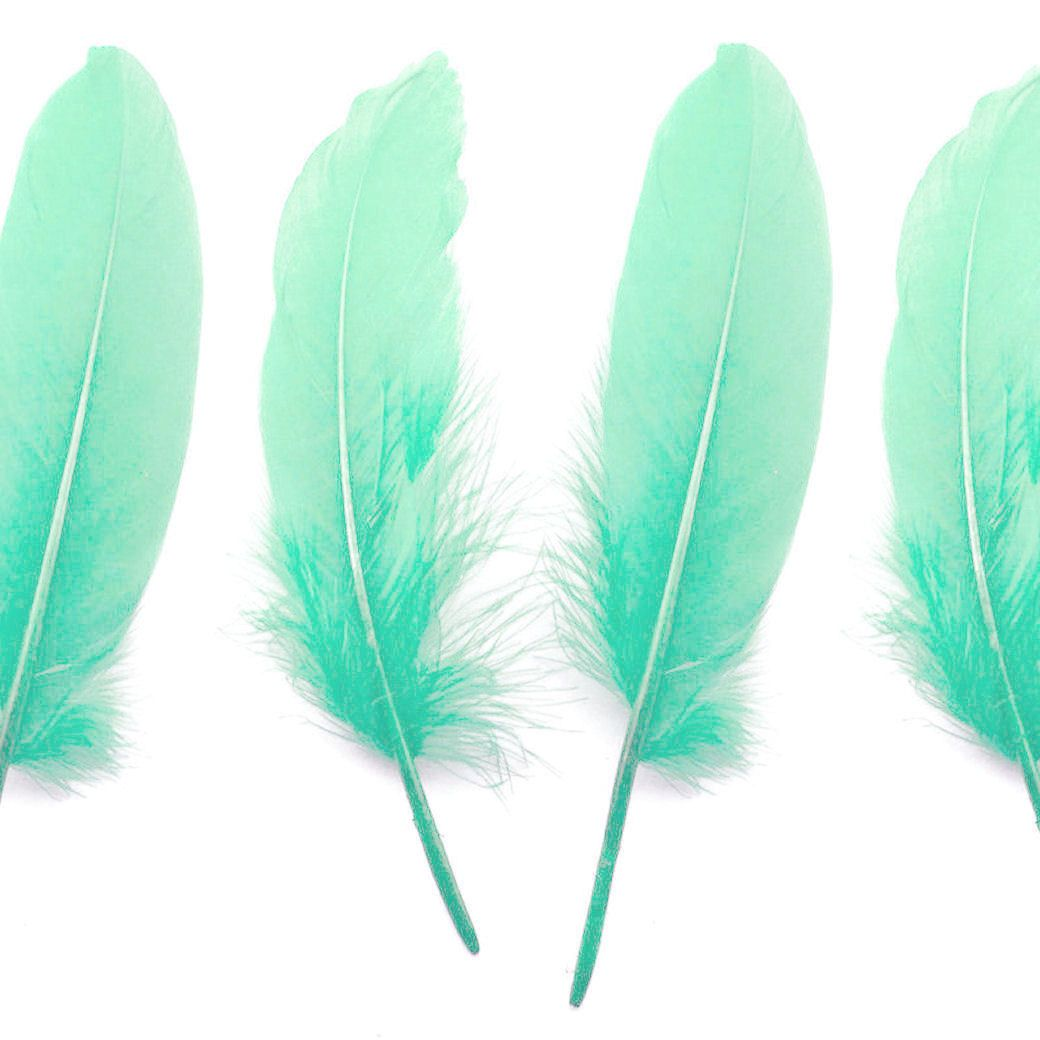Mint Green Goose Quill Feathers x 4
