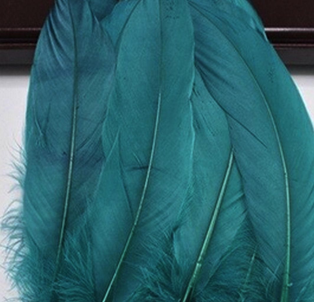 Teal Green Goose Quill Feathers x 4