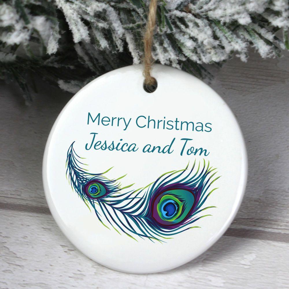 Personalised Peacock Round Ceramic Decoration