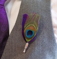 Feather Boutonnière Buttonhole - Peacock and Regal Purple Feathers