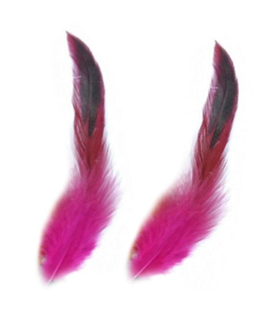 Dark Pink Rooster Schlappen Half Bronze Feathers