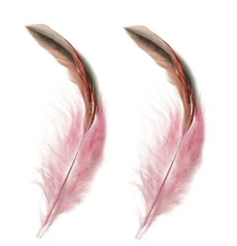 Pale Pink Rooster Schlappen Half Bronze Feathers