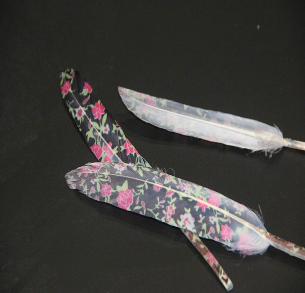Printed Black Floral White Goose Feathers
