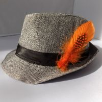 Orange Decorative Hat Feather Brooch