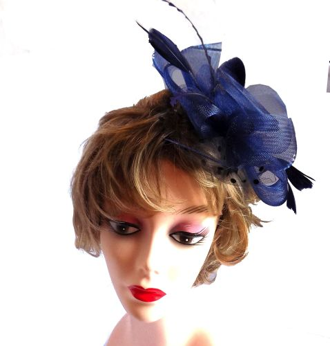 Navy Blue Wedding Fascinator