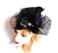 Black Mini Top Hat Fascinator Clip