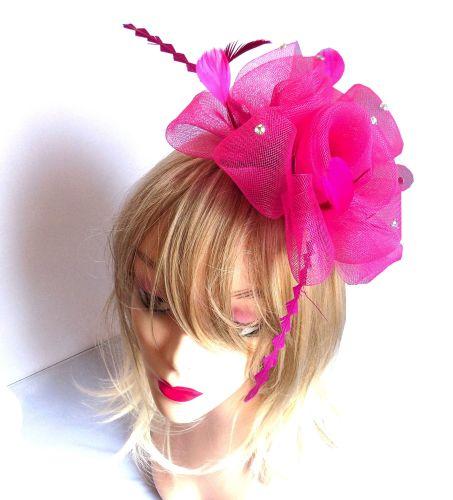 Dark Pink Wedding Fascinator Clip
