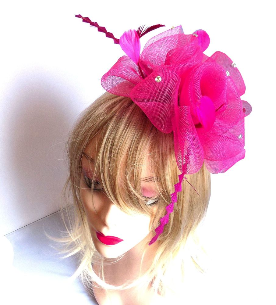 Dark Pink Wedding Fascinator Clip