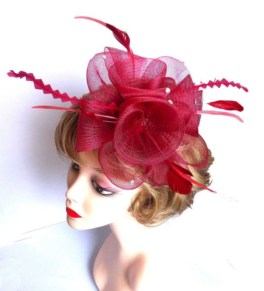 Burgundy Wedding Fascinator