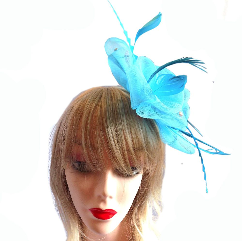 Turquoise Wedding Fascinator with Feathers