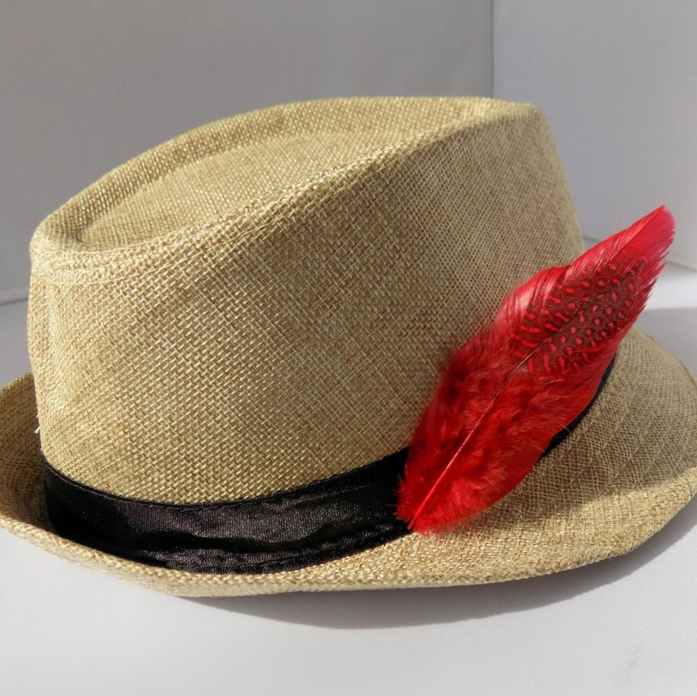 Red Decorative Hat Feather Brooch