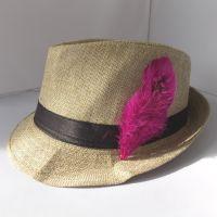 Plum Purple Decorative Hat Feather Brooch