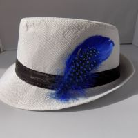 Royal Blue Decorative Hat Feather Brooch