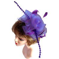 Purple Wedding Fascinator with Black Netting