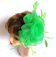 Green Wedding Fascinator with Black Netting