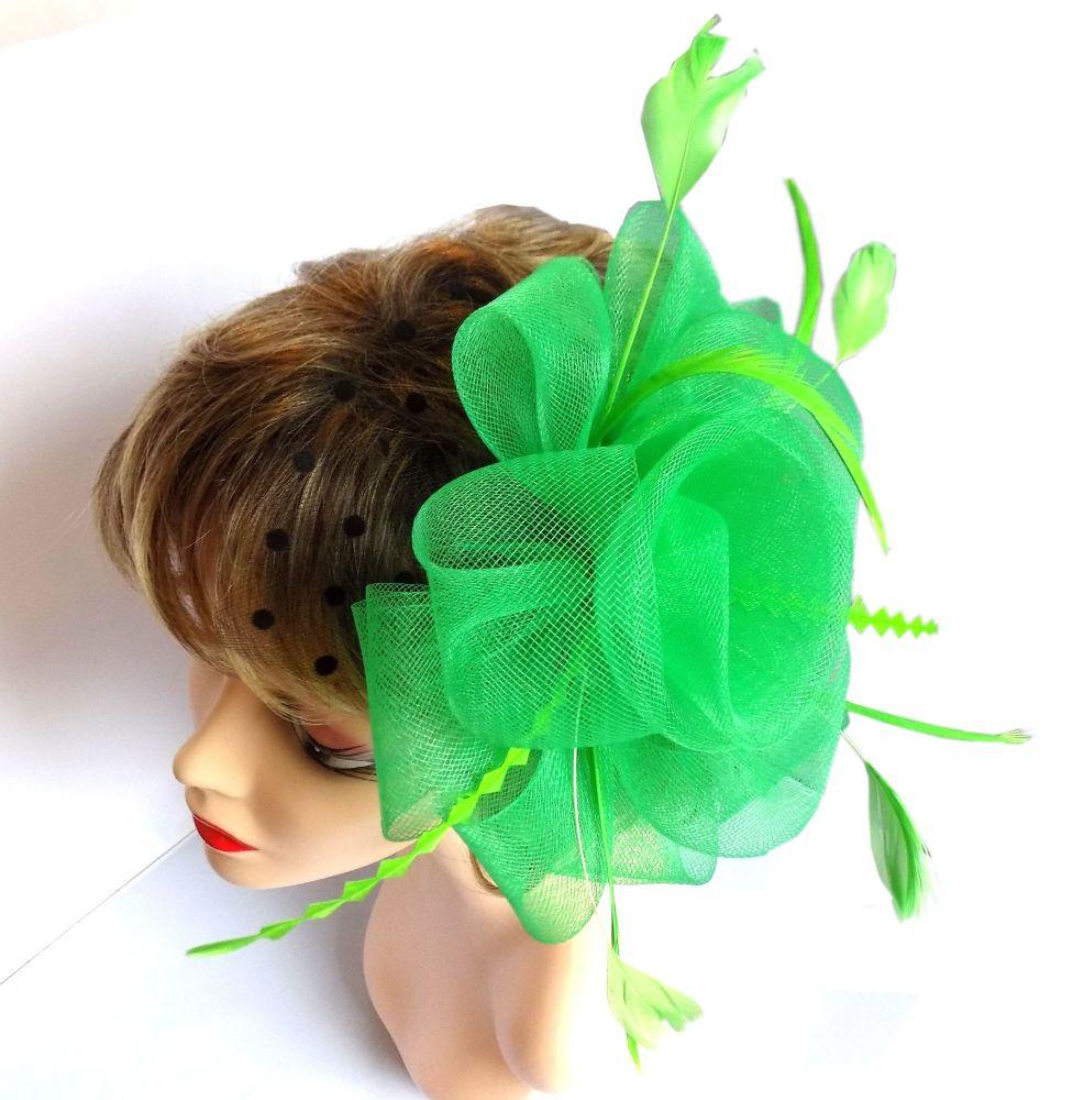 Green Wedding Fascinator with Netting