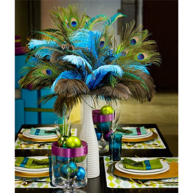 Peacock feathers displayed as a table center piece