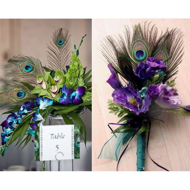 Peacock feathers in a wedding button hole