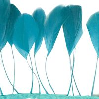 Dark Turquoise Stripped Coque Tail Rooster Feathers x 10