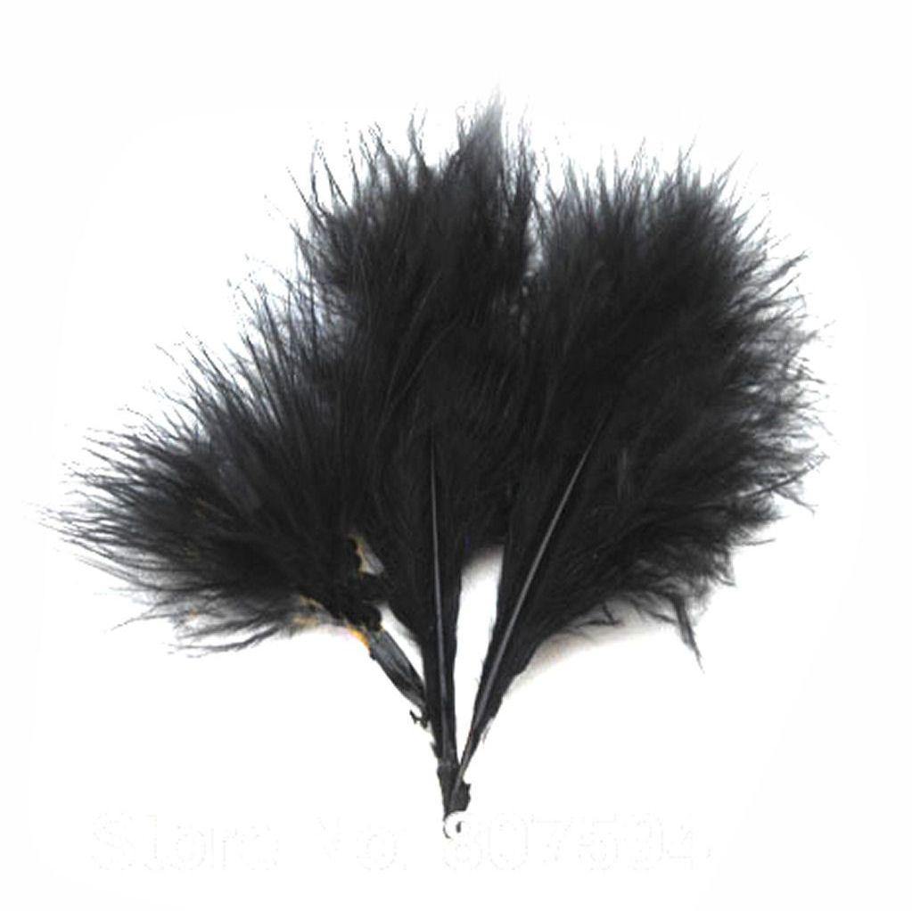 Black Medium Marabou Feathers