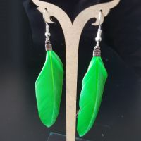 Bright Green Feather Earrings