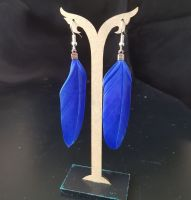 Royal Blue Goose Feather Earrings
